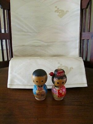 Vintage Pair Japanese Kokeshi Dolls Handpainted Wood