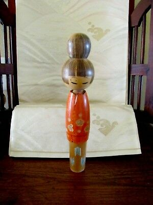 Vintage Tall Japanese Kokeshi Doll Handpainted Wood