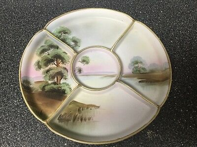 antique ceramic divided hand painted serving dish