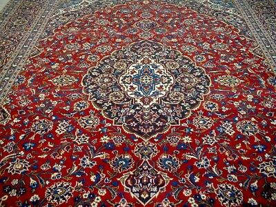 10X13 1940's BREATHTAKING FINE HAND KNOTTED 70+YRS ANTQ WOOL KASHAN PERSIAN RUG