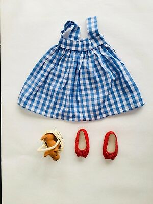 """WIZARD OF OZ DOROTHY OUTFIT RUBY SLIPPERS TOTO-Fits American Girl and 18"""" Dolls"""