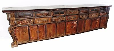 Antique Ming Xing Dynasty Chinese 12' Long Cabinet Elm Wood Yumu Carved Design