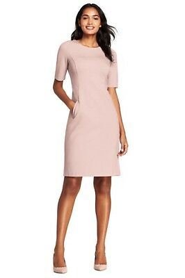 Lands End Women's Elbow Sleeve Ponte Sheath Dress Washed Pink New