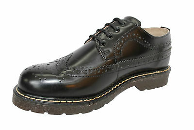 Grinders Bertrum ACS Black American Brogue Lace up Men's Womens Leather Shoes.