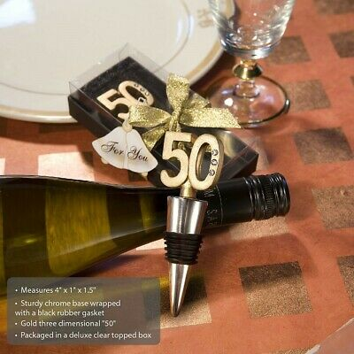50 Gold Wine Bottle Stoppers 50th Birthday Party 50th Anniversary Party Favors