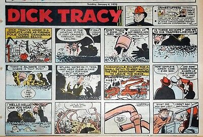 Dick Tracy by Gould - lot of 4 large half-page color Sunday comics - Jan. 1970