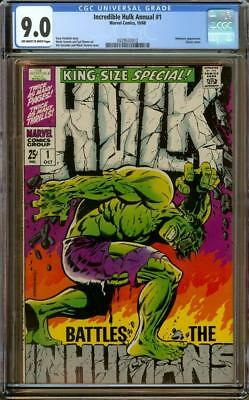 Incredible Hulk Annual #1 CGC 9.0 OW/W Pages Inhumans Appearance