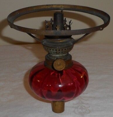 "Cranberry Red Glass Peg Oil Lamp Font Zimmerman Argand Burner 5 1/2"" Shade Ring"