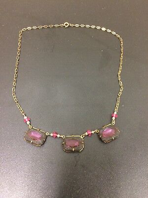 "Vintage Gold Tone Open Back Pink Crystal Glass Art Deco Era Necklace 18"" long"