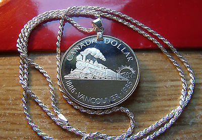 "1986 CANADA Vancouver SILVER DOLLAR on a 24"" ITALIAN Sterling Silver Rope Chain"