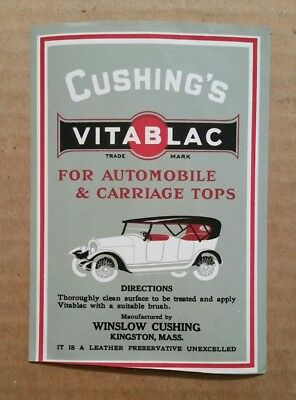 Cushing's Vitablac For Automobile & Carriage Tops,Unused Label,1910's-20's