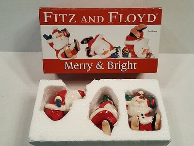 Fitz And Floyd Christmas Santa Merry & Bright Tumblers