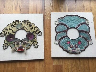 TWO Chinese Embroidered Silk Baby ANIMAL Collars - mounted on linen