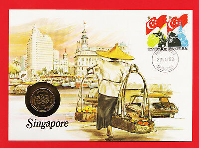 SINGAPORE $1 DOLLAR 1988 UNC FDC COIN STAMP COVER SET SINGAPURA Royal Mint