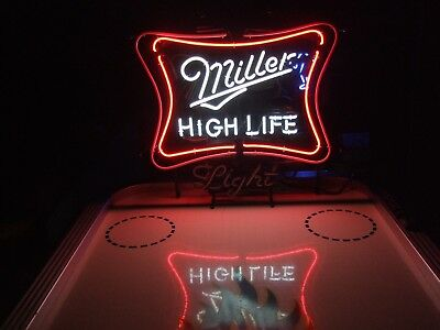 Miller High Life Motion Neon Light Beer Sign & Bud Hamms Pabst Coors NFL Coaster