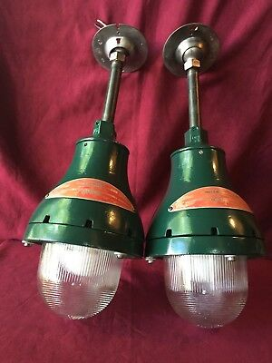 Pair Vintage 200 Watt Crouse Hinds Explosion Proof Industrial  Pendant Light