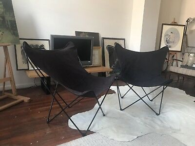 Pair Vintage Mid Century Hardoy Butterfly Sling Chairs-Philly, NJ, NYC delivery