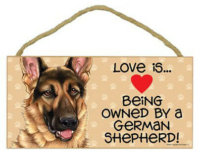 """Love is Being Owned by German Shepherd Sign Plaque dog 10"""" x5"""" pet gift"""
