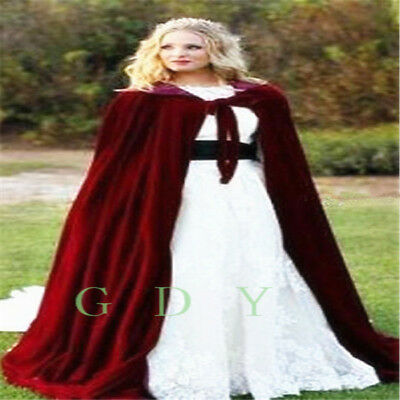 Velvet  Hooded Cloak Long Cape with Hood Masquerade Halloween Costume