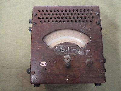 #oo.  Old Wooden Case Usa Weston Ac Electrical Voltmeter