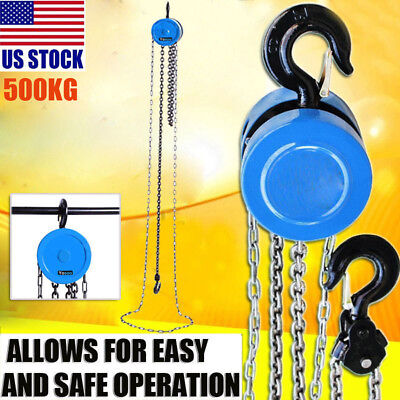 1 TON CHAIN PULLER BLOCK FALL CHAIN LIFT HOIST HAND TOOLS CHAIN WITH HOOK 2.5m