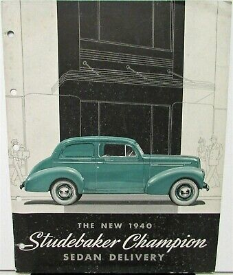 1940 Studebaker Champion Sedan Delivery Sales Brochure Data Spec Folder Original