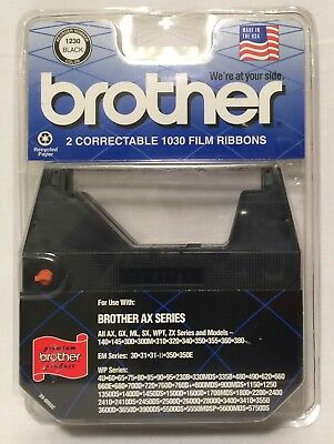 2-Pack Brother Correctable 1030 Film Ribbons 1230 Black Brother AX Series