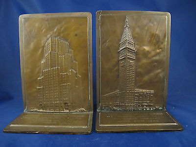 1940 MET LIFE bronze bookends signed by Rene Chambellan by Medallic Art Co.