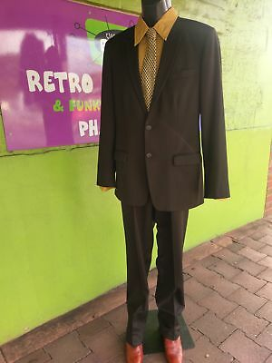 Chocolate brown pinstriped suit by Melbourne Fashion Avenue