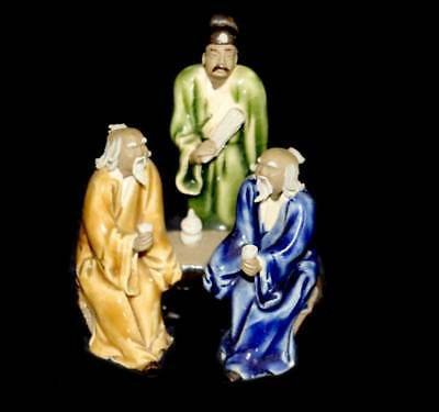 Vintage group of 3 Chinese mudmen pottery figurine 9cm