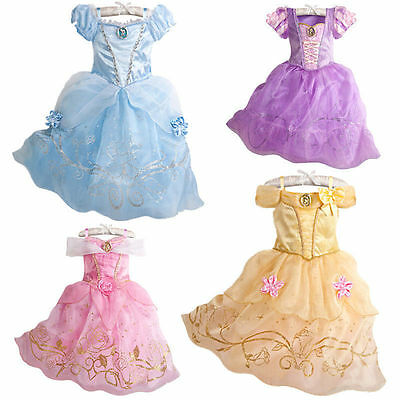 Kids Girls Princess Costume Fairytale Dress Up Belle Cinderella-Aurora Rapunzel.