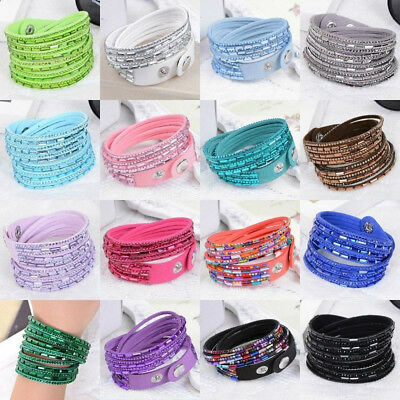 Stylish Leather Wrap Wristband Cuff Punk Crystal Rhinestone Bracelet Bangle