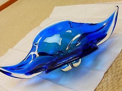"Vintage Heavy Large Blue Murano Italian Art Glass Decorative Bowl, 16"" wide"