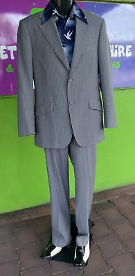 Uber Stone 60's inspired Grey pinstriped suit