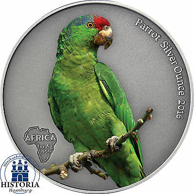 Afrika Serie: Ghana 5 Cedis 2016 Antique Finish Papagei Silver Ounce in Farbe