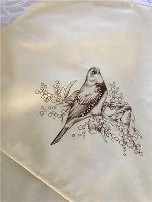 Hobby Tex - Yellow Fabric Table Napkins With Birds x 4  35cm x 35cm  Square