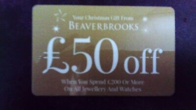 BEAVERBROOKS Jewellery Voucher £50 off online or in store