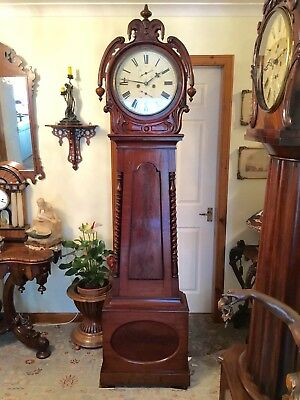 19th C. Scottish Mahogany Drumhead Longcase Grandfather Clock