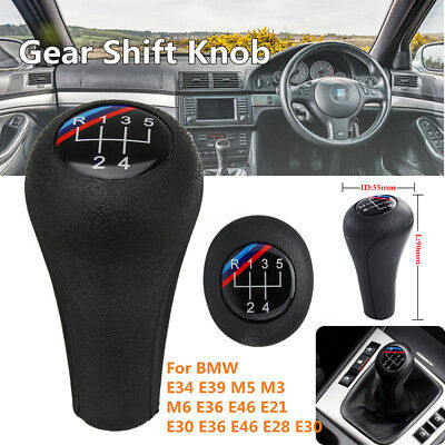5 Speed M-Colored Car Gear Shift Knob Shifter Lever Handle Stick Head For BMW