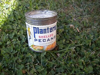Vintage 1940s Planters Peanuts Shelled Pecans Nut Tin Can Great Graphics