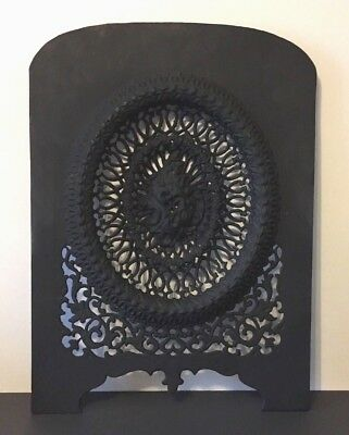 Antique Arched Cast Iron Victorian Ornate Fireplace Cover