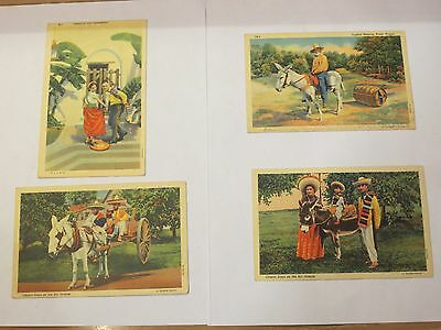 Lot Of 4 Vintage 40's Rio Grande Valley Mexican Themed Postcards