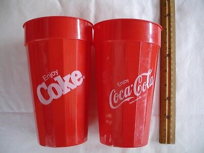 "2 Coca Cola Plastic Cups 7"" Tall"