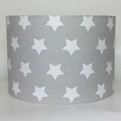 Big White and Grey Stars Large Fabric Light Shade