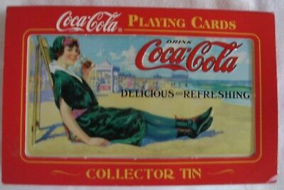 "Coca Cola Unopened 2 Decks ""Tin"" of Playing Cards ""Delicious & Refreshing"