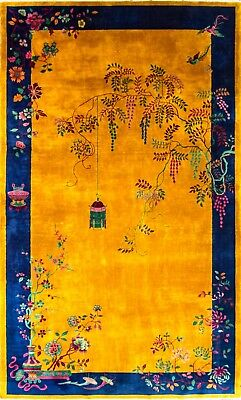 8' x 13' Unusual Manchester Wool Art deco  Oriental Carpet, Excellent,#16877