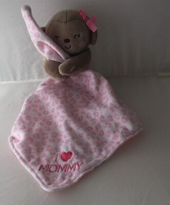 Carters Child Of Mine  Monkey Baby Security Blanket Rattle I Love Mommy Pink