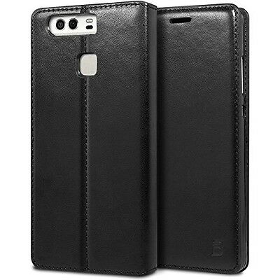 Premium Huawei P9 Leather Wallet Flip Case & Tempered 9H Glass Screen Protector