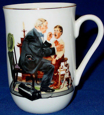 """1985 Norman Rockwell Museum """"The Country Doctor""""  Cup Mug Gold Rim Coffee Tea"""