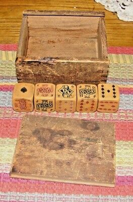 Set of 5 Antique Poker Dice in Old Wooden Box NR